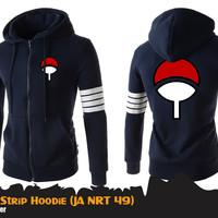 Jaket Anime Naruto Uchiha 4-Strip Jacket Hoodie (JA NRT 49)