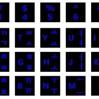 "Stiker Keyboard Huruf Hangul Korea font biru Laptop 14"""