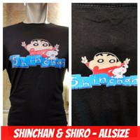kaos crayom sinchan & shiro anime manga komik combed hitam baju distro