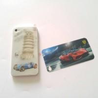 Skin sticker 3D back only iphone4 4s blue car ferrari