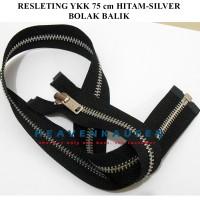 Resleting Zipper Jaket YKK 75 cm Bolak Balik Warna Hitam-Silver