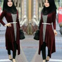 Arina set hijab maroon 5in1-baju online shop-stelan modern-salur-AL