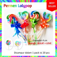 Jual Permen Lolipop - 4 cm - Bulat+Love Murah