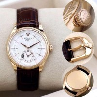 Jam Tangan ROLEX Cellini Brown Leather Chrono Date (GOLD)