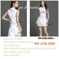 Dress Gauze Putih Pendek / Gaun Casual Motif Bunga / Cantik / IDWS082