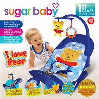 Sale Sugar Baby Fold Up Infant Seat Blue I love Bear