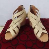 Sepatu kulit wedges wanita (heels 7 cm) asli garut
