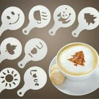 Cetakan tabur kue kopi latte art stencil barista 16in1