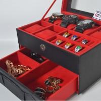 Jual Kotak Tempat Jam Tangan JUMBO mix Tempat Perhiasan Susun Black Red Murah