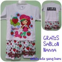 Kaos/baju Setelan Anak Gambar Strawberi/princes/cinderella/ Frozen /he