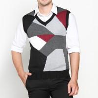 VM Sweater Rompi Rajut Hitam abu kombinasi - knitt vest 011