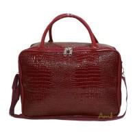 Jual Travel Bag Fashion Tas Koper Selempang Tas Mudik Kulit Buaya Red Murah