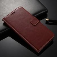 OPPO F5 Flip Case Cover Wallet PU Leather Case Coklat casing dompet