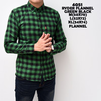 4051 Ryder Flanel Green Black Kemeja Flannel Panjang Pria