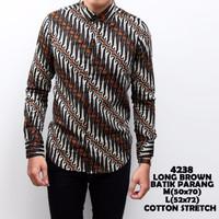 4238 Long Brown Batik Parang Kemeja Batik Panjang Pria