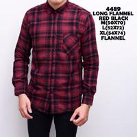 4489 Long Flannel Red Black Kemeja Flannel Panjang Pria