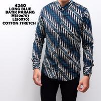 4240 Long Blue Batik Parang Kemeja Batik Panjang Pria