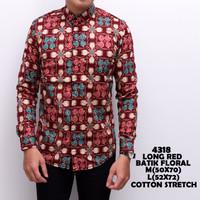 4318 Long Red Batik Floral Kemeja Batik Panjang Pria