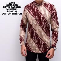 4321 Long Red Batik Parang Kemeja Batik Panjang Pria