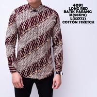 4091 Long Red Batik Parang Kemeja Batik Panjang Pria