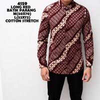 4159 Long Red Batik Parang Kemeja Batik Panjang Pria