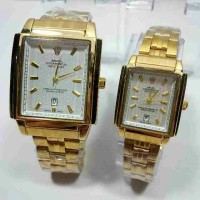 Jam Tangan Rolex Couple Gold black dan silver