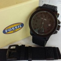 Jam Tangan Fossil Leather Black Free Tali Canvas