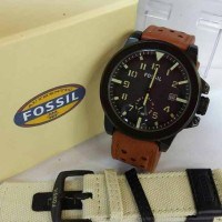 Jam Tangan Fossil Leather Brown Free Strap Canvas