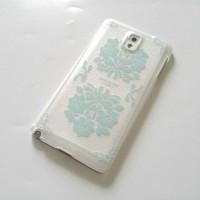 Casing Samsung Note 3 hard case toska floral transparan elegan