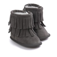 Jual Prewalker Sepatu Bayi Impor PW Ruffle Boots Dark Grey PW7313 Grosir Murah