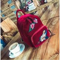 Ransel Cantik Anak Wanita Tas Import Backpack Bagpack Bunga Redwine