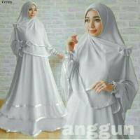 Gamis Wanita / Baju Muslim Hijab Syari Bergo Line ANGGUN Gray