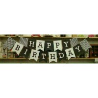 Jual BANNER FLAG Happy Birthday Black & White Murah
