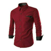 Super Collection Kemeja Pria Slimfit Exclusive Arion Style Red Maroon