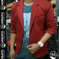Jual PROMO Jaket Blazer FLEECE MAROON - Jas Pria Casual SLimfit Korea Style Murah