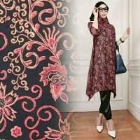 Baju Wanita Gamis Hijab Muslim Set 3in1 Batik Velvet Arumi Red MURAH