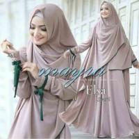 Baju Wanita Gamis Hijab Muslim Bergo Elsa Mayra Brown MURAH
