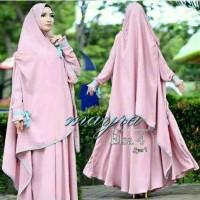 Baju Wanita Muslim Hijab Gamis Bergo Elsa Mayra Pink MURAH