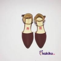 Sepatu Flat Shoes / Flatshoes Wanita Tali Vasco DM06 Maroon / Termurah