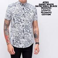 4752 Short White Batik Shell Black Kemeja Pendek Pria