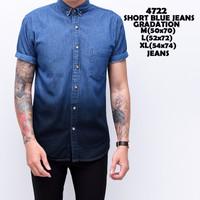 4722 Short Blue Jeans Gradation Kemeja Pendek Pria