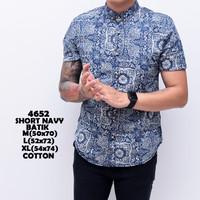 4652 Short Navy Batik Kemeja Pendek Pria
