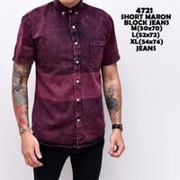 4721 Short Maron Block Jeans M-XL Kemeja Pendek Pria