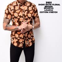 3951 Short Batik Floral Brown Kemeja Batik Pendek Pria