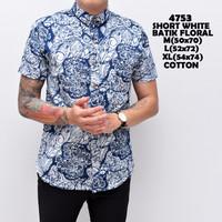 4753 Short White Batik Floral Kemeja Pendek Pria
