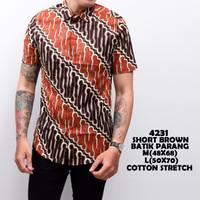4231 Short Brown Batik Parang Kemeja Batik Pendek Pria