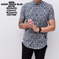 4810 Short White Blue Batik Kemeja Pendek Pria