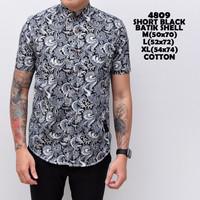 4809 Short Black Batik Shell Kemeja Pendek Pria