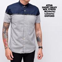 4756 Short Navy Mix Stripe Kemeja Pendek Pria