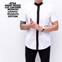 4724 Short White List Leather Kemeja Pendek Pria